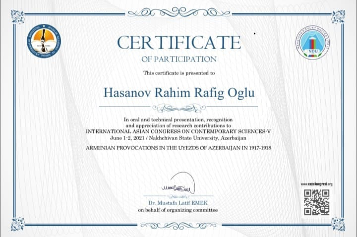 The employee of ANAS, Sheki RSC Rahim Hasanov participated in the V International conference held in June 1-2, 2021